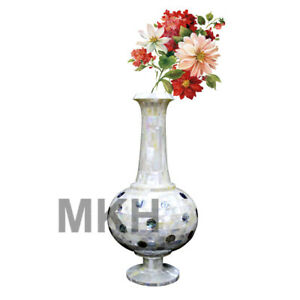 Marble-Flower-Vase-Pot-Inlay-Stones-Home-Decor-Plant-Planter-Vintage-Mosiac