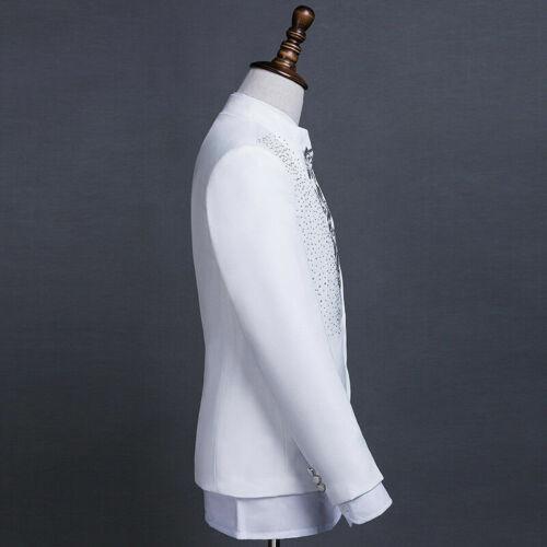 Hommes Brodé Veste de Costume et Set Pantalon Smoking Mariage Habillé Soirée