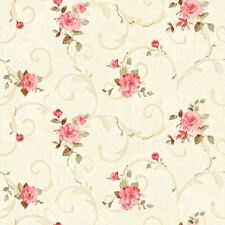 Dollhouse Miniature Shabby Chic Wallpaper Pink & Tan Roses Floral Flowers 1:12