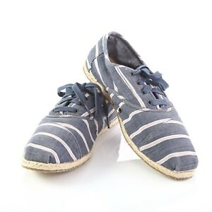 toms blue pink striped canvas espadrilles sneakers lace up