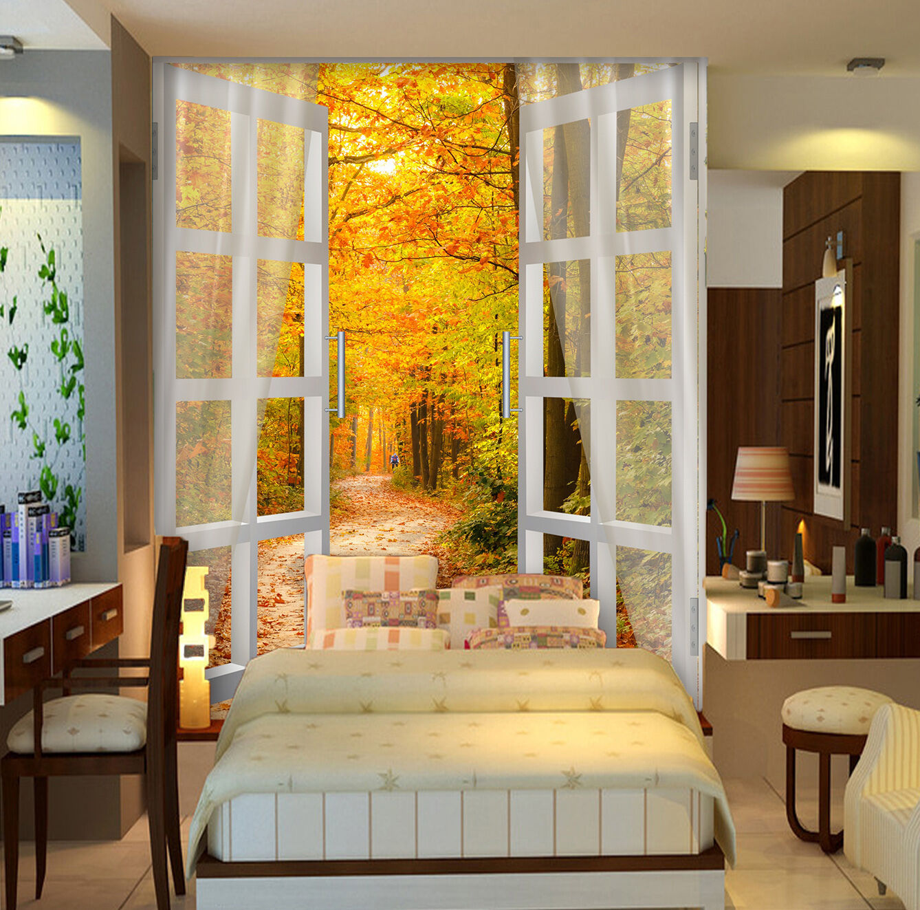 3D Door colorful Forest 3399 Wallpaper Decal Decor Home Kids Nursery Mural Home