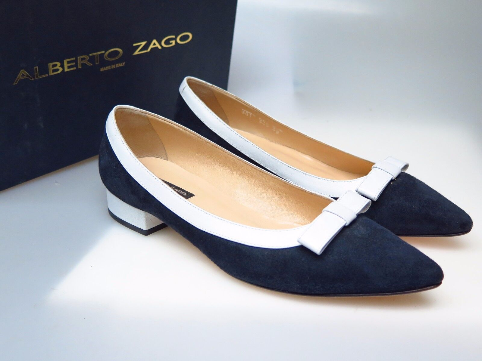 ALBERTO ZAGO Camoscio Damenschuhe Schuhe 301 Cardi Camoscio ZAGO Nappa Blau Gr. EU 38 NEU 465823