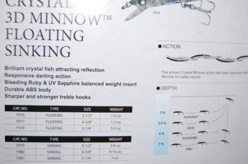 """yo zuri crystal minnow 3d sinking 4 3//8/"""" 9//16oz f980-hsbl holo silver black"""
