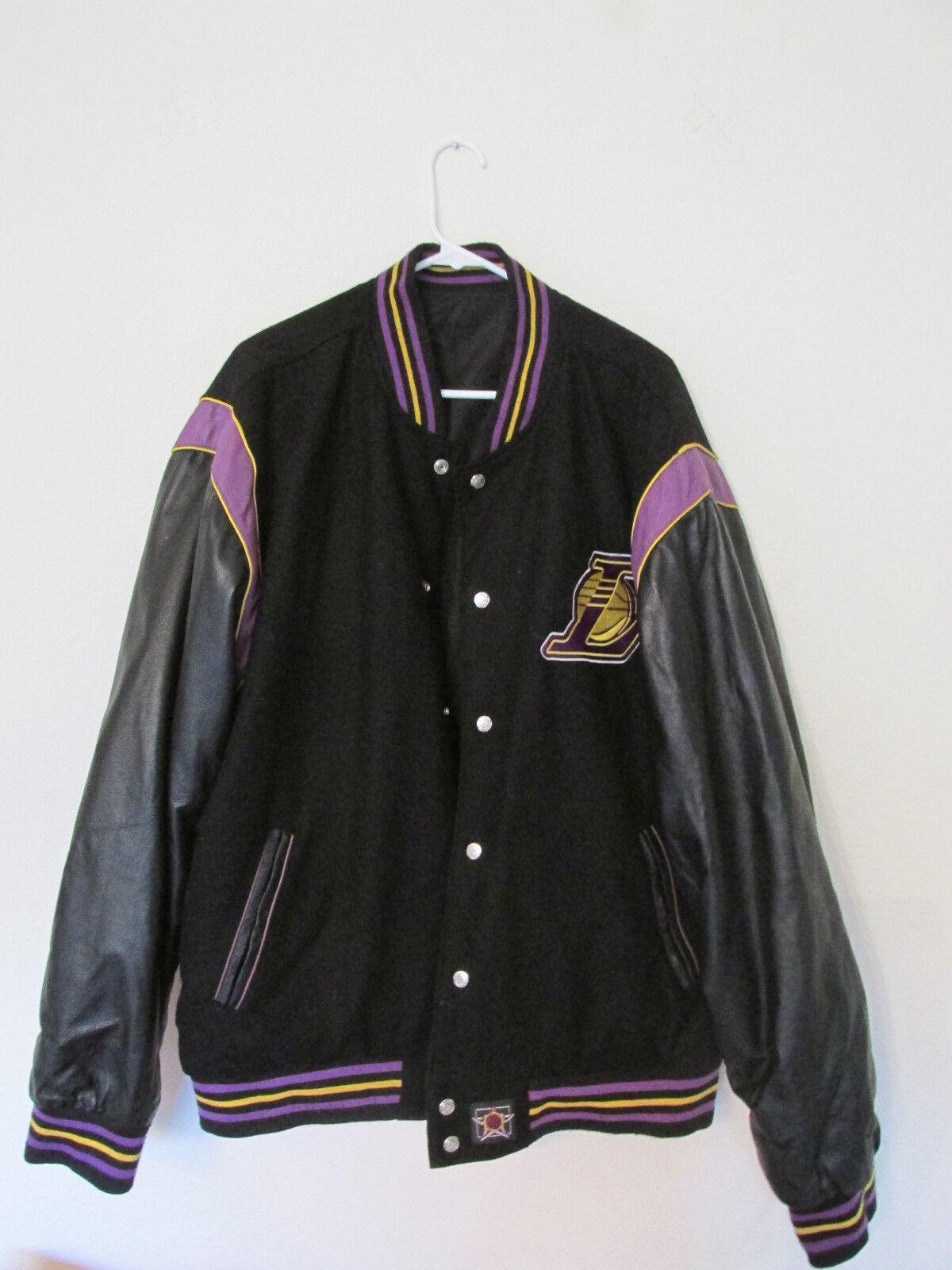 HERREN Jh Jh Jh Design La Los Angeles Lakers Leder & Wolle Wendejacke Mantel 3X 128d15