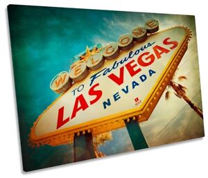 Las Vegas Welcome Sign Picture SINGLE CANVAS WALL ART Print