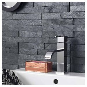 Black Slate Split Face Mosaic Tile Rock Panels - 3D Wall Cladding ...