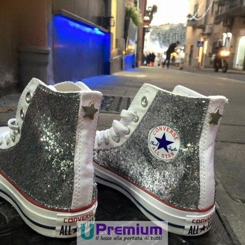 Glitter Customizzato prodotto All Argento Stella Scarpe Bianche Star Converse 4Zq1n