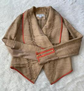Mark-amp-James-By-Badgley-Mischka-Tan-Leather-Twist-Blazer-Jacket-Size-Small