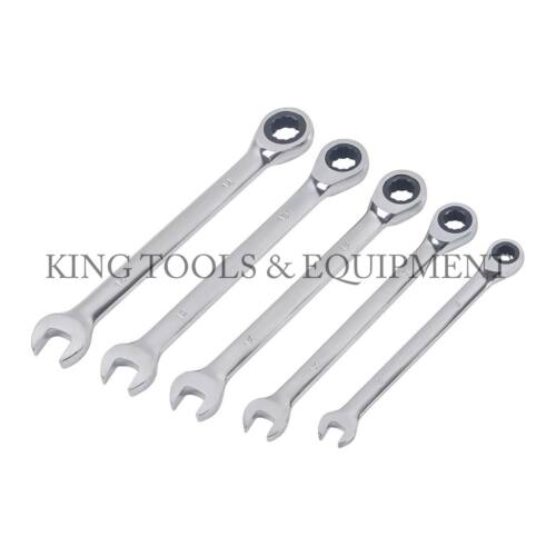 KING 5PC Gear Ratchet Spanner Combination Wrench Set Pro Home Hand Tool Metric