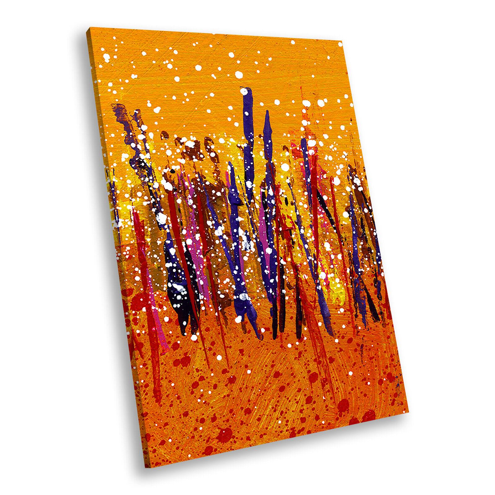 Orange Blau rot Portrait Abstract Canvas Framed Kunst Large Bild