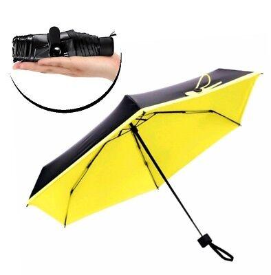 Appena Mini Ombrello Uomo Donna Ombrello Tascabile Piccolo Leggero Nero Giallo 18x5cm