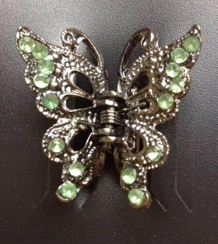 A Pretty Métal Papillon Mini Pince Clip pour Cheveux avec Vert Strass Pierres