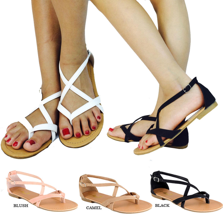 Women's Gladiator T-Strap Black Flip Flops Flat Casual Sandal Black T-Strap White Camel 6e1188