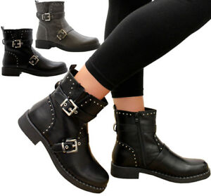 Biker Ankle Zip Ladies Women Calf Buckle Boots Mid Strap Studded vxOwRq7n