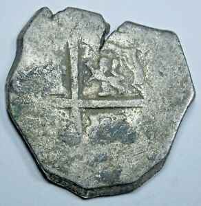 1600-039-s-Spanish-Silver-2-Reales-Cob-Piece-of-8-Real-Colonial-Pirate-Treasure-Coin