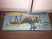 Vintage Guillow's Flying Model Kit Stearman Pt-17 Scale Balsa Kit Airplane