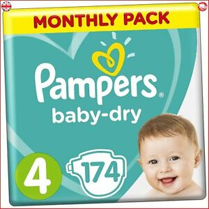 Pampers-Baby-Dry-Size-4-174-Nappies-9-14-Kg-Air-Channels-For-Breathable-Dryness