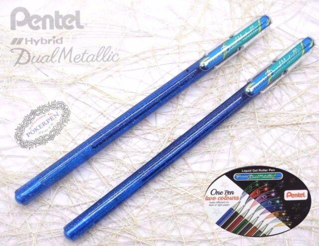 8 Pens Set x 1 Pen 2 Colours Ink Pentel K110 Hybrid Dual Metallic Gel Pen
