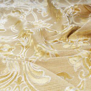 Tessuto Taglio 280x280 Raso Pesante Fantasia Damasco Oro Lucido Cuscini Tovaglie