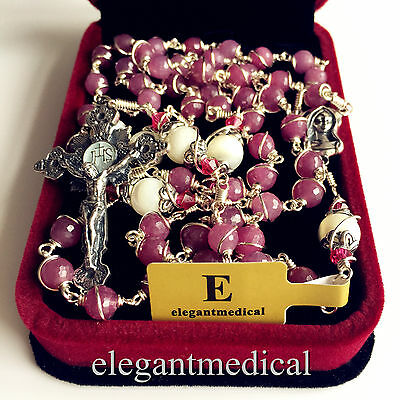 NICE 925 STERLING SILVER UNDOUBTED RUBY BEADS ROSARY CROSS CATHOLIC NECKLACE BOX