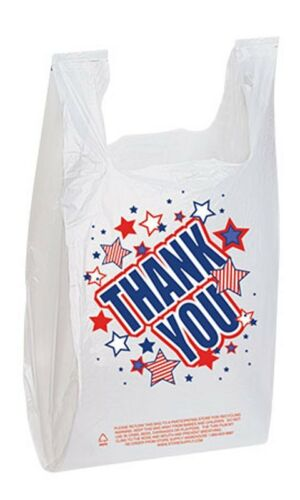 Bags For Sale 500 Plastic T-Shirt White Americana Thank You