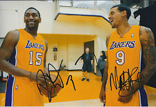 Matt BARNES & Ronald ARTEST Metta World PEACE 12x8 Signed Photo Autograph AFTAL