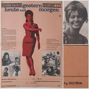 GESTERN, HEUTE, MORGEN   1966 Kino Plakat A2   Sophia Loren Mastroianni de Sica