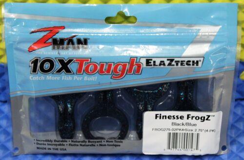 """Z-MAN 10XTough ELAZTECH Finesse FrogZ Size 2.75/"""" Series 4-PK CHOOSE YOUR COLOR!"""