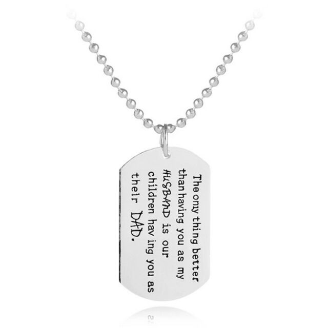 Dog Tag Dad Mom Engrave Letter Stainless Steel Pendant Love Family Necklace TB