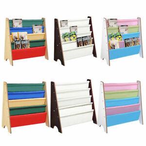 Sling Bookcase Book Rack Storage Kids Shelf Children Bedroom Playroom Bookshelf