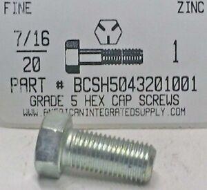 7//16-20x3-1//2 Hex Head Cap Screws Grade 5 Steel Zinc Plated 4