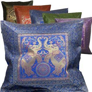 Kissenhuelle-Kissen-40-x-40-cm-Orient-Dekokissen-Brokat-Elefanten-Indien-gold