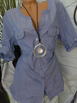 074 46-56 weich fallend Sheego Bluse Tunika Jeans Optik Gr 643 NEU