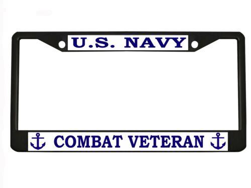 US NAVY COMBAT VETERAN Metal Auto License Plate Frame Car Tag Holder