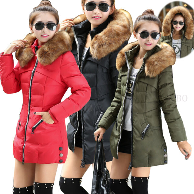 AU Women's Hooded Jacket Quilted Padded Puffer Fur Collar Warm Winter Parka Coat