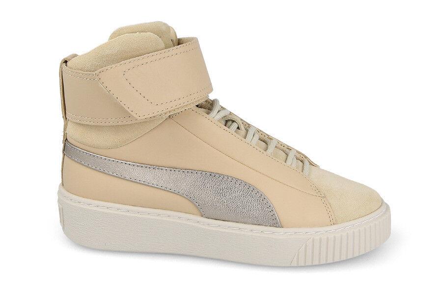 Puma Women's BASKET PLATFORM MID UP PREMIUM shoes Natural Vachetta 364952-01 b