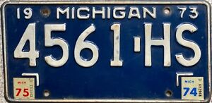 1973 Michigan Great Lake State American License Licence USA Number Plate 4561 HS