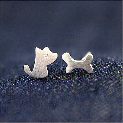 1 Pair Women Dog Bone Earrings Cute Asymmetric Silver Ear Studs Jewelry