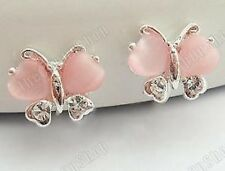 U CLIP ON stud DIAMANTE crystal PINK glass wings BUTTERFLY EARRINGS rhinestone