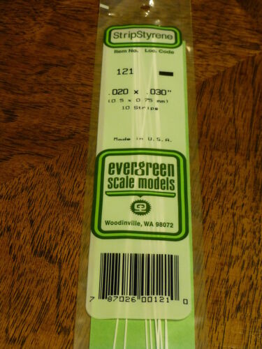 """Evergreen Styrene #121 // .020/"""" Thick 14/"""" Long; pkg -- x .030/"""" 10"""