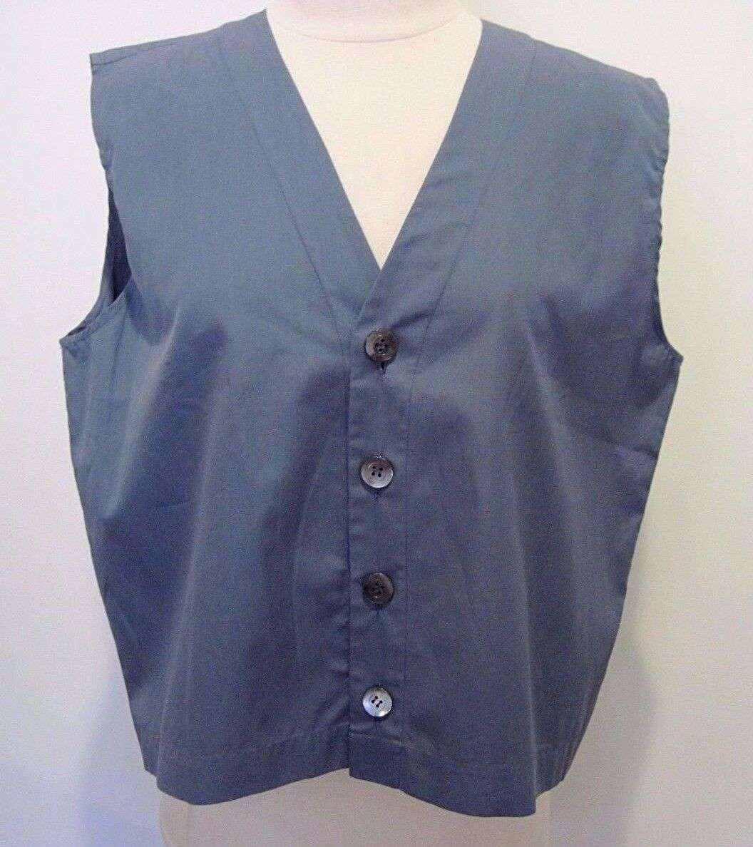 Eskandar Slate Blau Cotton Sleeveless Vest Top Mother of Pearl Front Buttons 1