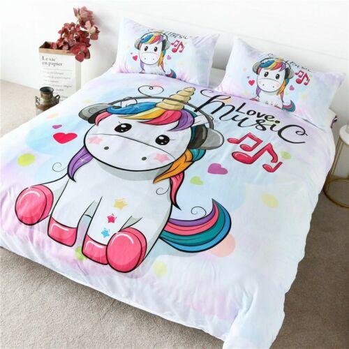 Mignon Licorne ensemble de literie Rainbow Cheveux Parure Housse de couette Kids Cartoon ensemble de lit