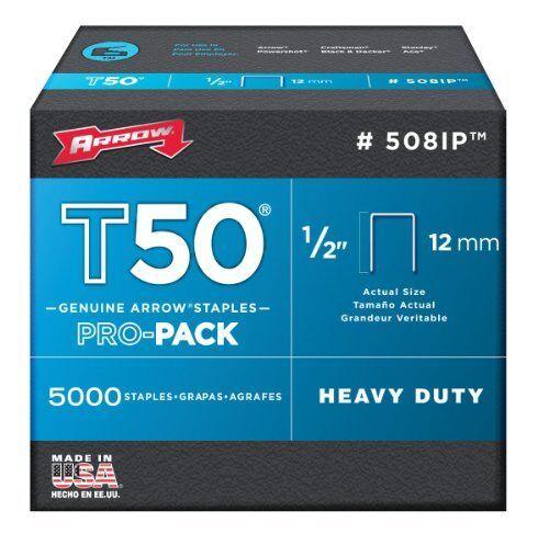 Arrow Fastener 508IP Genuine T50 1//2-Inch Staples 5,000-Pack