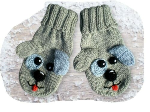 Handschuhe Fäustlinge gestrickt Baby Motiv Hund 12-18 Monate handmade