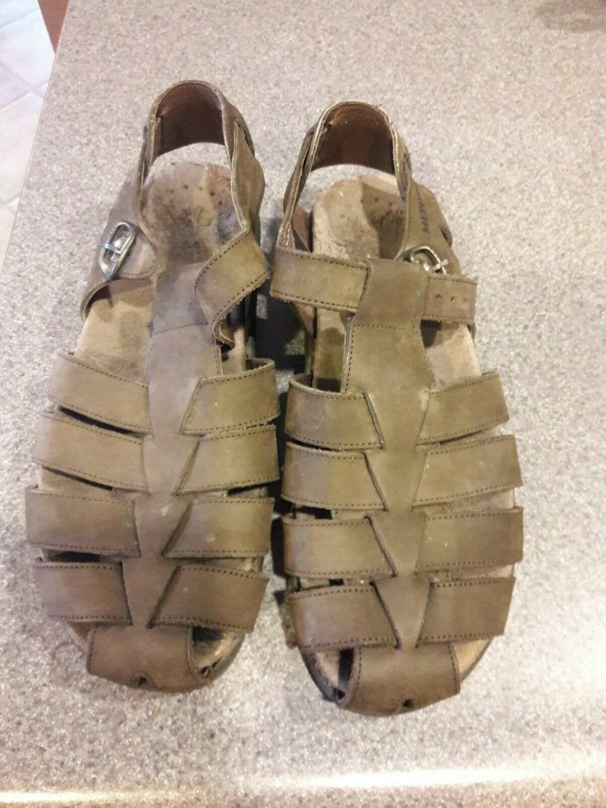 Men's Brown Leather MEPHISTO Fisherman Casual Summer Sandals shoes size 42. 8.5
