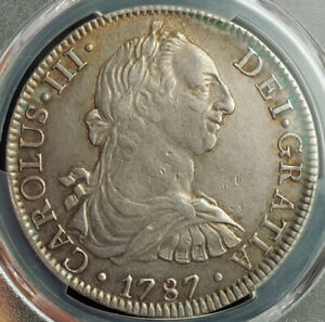 1787-Mexico-Charles-III-Large-Silver-8-Reales-Spanish-Dollar-Coin-PCGS-XF