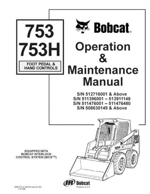 Bobcat 753h 753 H Operation Maintenance Operator Manual Book