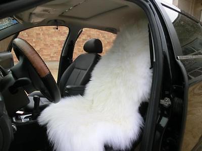 Natural White Single Car Seat Cover Sheepskin Wool Winter Warmer Car Cushion