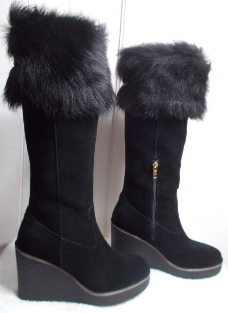 7ebd1bd9916 UGG Australia Valberg Wedge Winter BOOTS Black Suede 10 US   41 EU ...