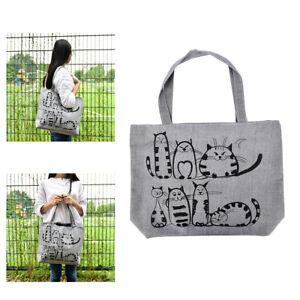 1x Cat Shopping Tote Bag Big Canvas Handbag Shoulder Crossbody Bag Portable 、new